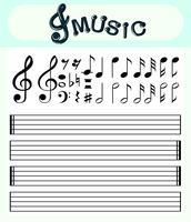 Modello di note musicali e linee di scala vettore