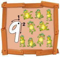 Nove rana su banner in legno
