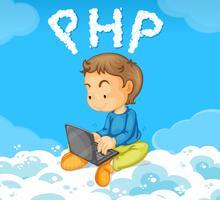 Un ragazzo che codifica PHP su cloud vettore