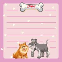 Modello di carta con due cani carini vettore
