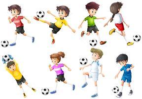 Una serie di giocatori di calcio vettore