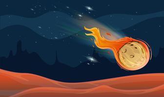 Scena di sfondo con la cometa nello spazio