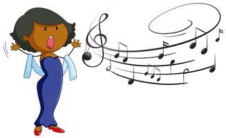 Donna che canta su sfondo bianco vettore