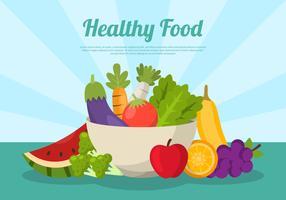 Ciotola di cibo sano con testo vettore