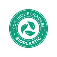 Bioplastica. Icona 100% biodegradabile.