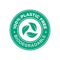 100% senza Pastic. Icona biodegradabile.