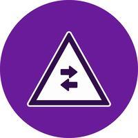 Il traffico a doppio senso di vettore attraversa l'icona del segno di strada a senso unico