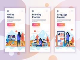 Set di kit di interfaccia utente per schermi onboarding per la libreria, l'apprendimento, i corsi di lingua, il concetto di modelli di app per dispositivi mobili. UX moderno, schermo dell'interfaccia utente per sito web mobile o reattivo. Illustra