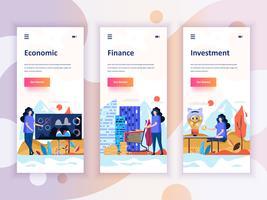 Set di kit di interfaccia utente per schermi onboarding per Economia, finanza, investimenti, concetto di modelli di app per dispositivi mobili. UX moderno, schermo dell'interfaccia utente per sito web mobile o reattivo. Illustrazione vettoriale