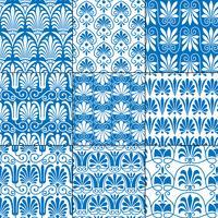 modelli greci classici senza cuciture blu e bianchi vettore