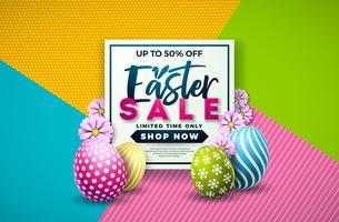 Illustrazione di vendita di Pasqua con uovo dipinto di colore e fiore di primavera su sfondo colorato. vettore