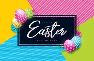 Illustrazione vettoriale di felice vacanza di Pasqua con uova dipinte e fiore di primavera