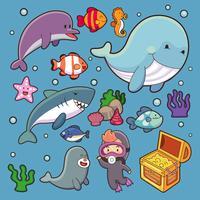 Vita acquatica marina del carattere dell'acqua subacquea dell'illustrazione del fumetto del pesce dell'oceano delle piante acquatiche di vettore degli animali del mare. Delfino della balena tropicale della fauna selvatica subacquea delfino, me