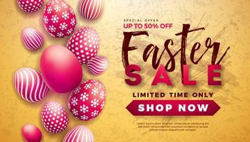 Illustrazione di vendita di Pasqua con uovo dipinto di rosso su sfondo giallo. vettore