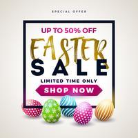 Illustrazione di vendita di Pasqua con uovo dipinto di colore su priorità bassa bianca. vettore