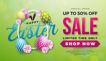 Illustrazione di vendita di Pasqua con uovo di colore dipinto, fiore di primavera e orecchie di coniglio su sfondo verde. vettore
