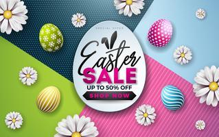 Illustrazione di vendita di Pasqua con uovo di colore dipinto, fiore di primavera e orecchie di coniglio su sfondo colorato. vettore