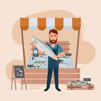 mercato del pesce e frutti di mare freschi in frigo vettore