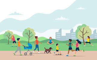 Persone che fanno varie attività all'aperto nel parco. Correre, andare in bicicletta, andare in scooter, camminare con il cane, allenarsi, meditare, camminare con la carrozzina.