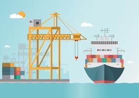 Trasporto marittimo logistico. Il trasporto via mare. Nave cargo, spedizione container in stile piatto