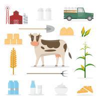 personaggio dei cartoni animati contadino in fattoria biologica con attrezzature.