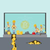 Concetto di criptovaluta uomo d'affari, minatore con pala e strumenti di scavo che lavorano nella miniera sotto il computer portatile per fare soldi con monete o bitcoin in linea. vettore
