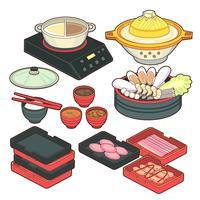 Piatti vuoti giapponesi impostati in stile realistico. Diverse ciotole, padelle, tavole per sushi, bacchette isolato su sfondo bianco. Cottura della raccolta dell'illustrazione di vettore. Oggetti da cucina per il tuo design vettore