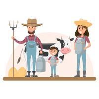 personaggio dei cartoni animati contadino con mucca da latte in fattoria rurale biologica