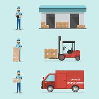 magazzino e design piatto logistico. Consegna e stoccaggio con lavoratori, box di carico, auto e carrelli elevatori
