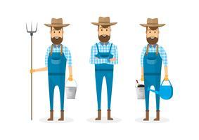 personaggio dei cartoni animati contadino isolato su sfondo bianco
