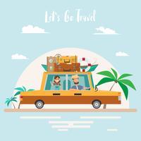 Viaggio estivo Viaggio in famiglia in spiaggia in vacanza. vettore