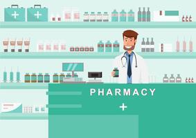 farmacia con medico in contatore. disegno del personaggio dei cartoni animati della farmacia
