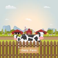 caseificio, mucca da latte all'interno della fattoria in campagna. vettore