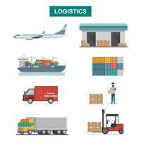 Set di icone Trasporto merci, imballaggio, spedizione, consegna e logistica in stile piatto