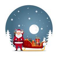 simpatici personaggi di Babbo Natale in diverse emozioni.