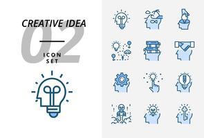 Icon pack per idea creativa, brainstorming, idea, creativo, lampadina, viaggio, strada, viaggio, piano, libro, educazione, stretta di mano, affari, gestione, matita. vettore