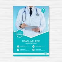 Copertura sanitaria design template a4 per un report e brochure design medico, volantino, decorazione volantini per la stampa e presentazione illustrazione vettoriale