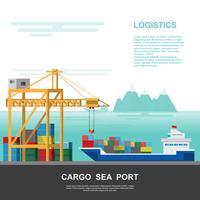 Magazzino e porto di spedizione logistico su uno stile piatto vettore