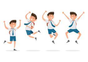 Studenti felici quando torna a scuola isolato su sfondo bianco.