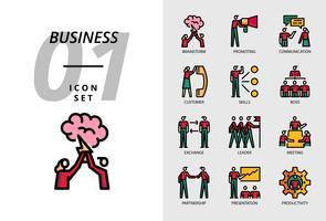 Icon pack per il business, Brainstorm, promozione, comunicazione, clienti, competenze, capo, scambio, leader, meeting, partnership, presentazione, produttività.