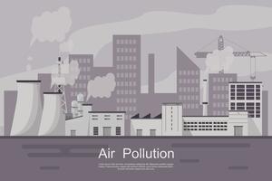Città con inquinamento atmosferico da impianto e tubo sporco. vettore