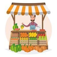 Spaccio aziendale. Mercato locale. Vendita di frutta e verdura. imprenditore che lavora nel suo negozio. vettore