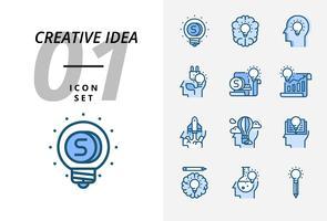 Icon pack per idea creativa, denaro, brainstorming, idea, creatività, ecologia, soldi, carta d'affari, pilota, mongolfiera, razzo, libro, educazione. vettore