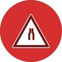 Vettore Road si restringe su entrambi i lati Road Sign Icon