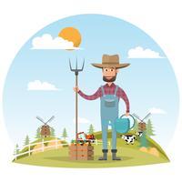 personaggio dei cartoni animati contadino con mucca da latte in fattoria rurale biologica vettore