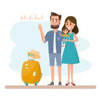Viaggio in famiglia. Genitori e figlia con la borsa per una vacanza
