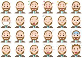 Set di espressioni diverse uomo d'affari. vettore