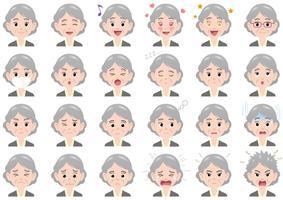 Varie espressioni della donna di affari fissate. vettore
