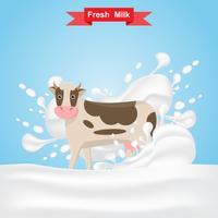 mucca del latte stare sulla spruzzata di latte fresco vettore