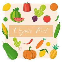 Modello di alimenti biologici. Illustrazione vettoriale, set di frutta e verdura